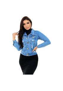 Jaqueta Jeans Feminina Outono Inverno Com Laycra O Rei Do Brás