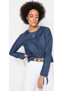 Blusa Jeans Com Amarração Azul Escuro