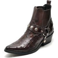 24c1a5da865 Bota Country Bico Fino Top Franca Shoes Cafe Avestruz