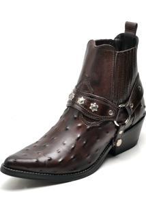 Bota Country Bico Fino Top Franca Shoes Cafe Avestruz