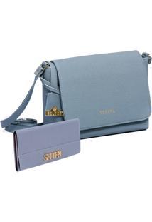 Kit Bolsa Transversal Com Carteira Azul Clara Selten - Kanui
