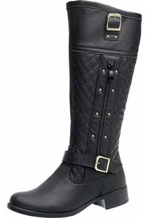 Bota Montaria Ousy Shoes Strass Fashion Preta
