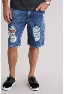Bermuda Jeans Reta Destroyed Azul Escuro