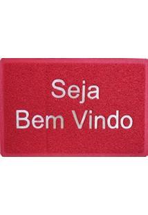 Tapete Capacho Vinil Vermelho 40Cm X 60Cm