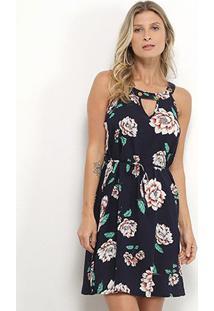 Vestido Curto Jin Recorte Amarração Floral - Feminino-Azul+Branco