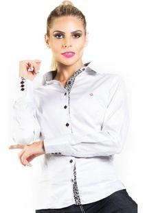 Camisa Carlos Brusman Feminina Slim Reta Micro Poá - Feminino-Off White