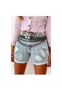 Bermuda Jeans Degrant Meia Coxa Lavagem Clara