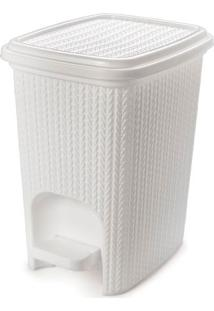 Lixeira Plasútil Plástica Com Pedal Trama Branco 7L