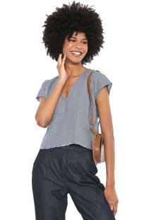 Blusa Jeans Cantão Listras Azul/Branca