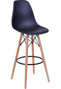 Banqueta Eames Dkr- Preta & Madeira Clara- 106X56X56Or Design