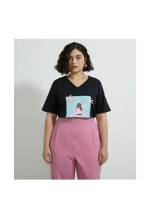 Camiseta Algodão Estampada Muher Empoderada Curve & Plus Size Preto