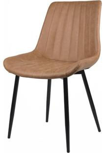 Cadeira Celi Estofada Corino Caramelo Com Base Preta - 58174 - Sun House