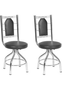 Conjunto 2 Cadeiras Ca-955 Cromada Preto Quadriculado Giratória Assento Alto