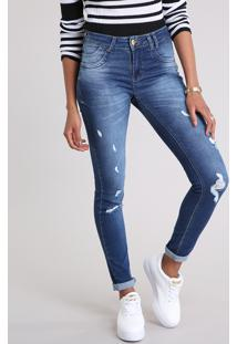 Calça Jeans Feminina Sawary Super Skinny Levanta Bumbum Com Puídos Azul Escuro