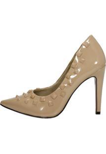 Scarpin Salto Alto Week Shoes Tachas Nude
