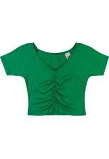 Blusa Verde Ciganinha Cropped