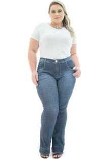 e11942dc7 ... Calça Jeans Confidencial Extra Flare Winter Com Elastano Feminina -  Feminino-Azul Escuro