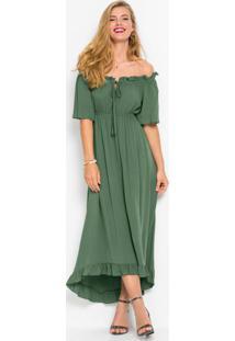 Vestido Em Mullet Longo Com Guipir Verde Militar