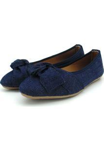 Sapatilha Em Jeans Na Cor Azul Com Laço Atron Shoes