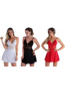 Kit 03Pçs Camisola Rendada Sem Bojo Preta Branca E Vermelha Diário Íntimo