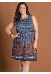Vestido Com Barrado Étnico Plus Size Marguerite