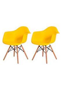Kit 2 Cadeiras Eiffel Eames Daw C/Braco Amarela Base Madeira Sala Cozinha Jantar