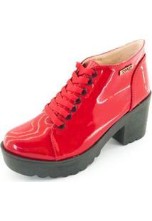 Bota Quality Shoes Tratorada Verniz Feminina - Feminino-Vermelho