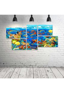 Quadro Decorativo - Dolphin-Sea-Seabed-Fish-Corals - Composto De 5 Quadros