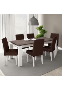 Conjunto Mesa De Jantar Onix Brancocarvalho 6 Cadeiras Brancas Courino Marrom - Madesa