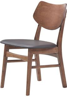 Cadeira Scandinavian Mad Nogueira Assento Pvc Preto - 38593 - Sun House