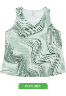 Blusa Com Decote V Estampada Verde