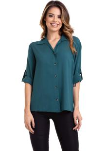 Camisa Kinara Viscose Manga ¾ Martingale Verde