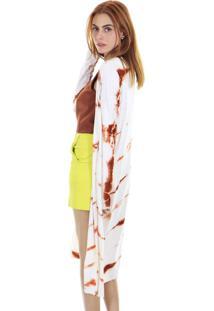 Cardigan Longo Estampa Tie Dye Com Fenda Lateral - Kanui