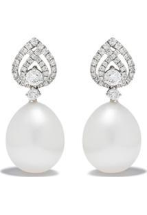 Kiki Mcdonough Par De Brincos Em Ouro Branco 18K Com Pérolas E Diamantes - White Gold