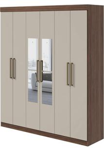 Guarda Roupa Virgo 6 Portas Com Espelho Imbuia Naturale/Off White