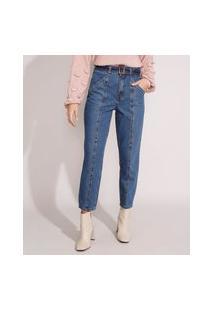 Calça Mom Jeans Cintura Super Alta Com Recortes E Cinto Azul Escuro