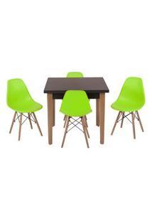 Conjunto Mesa De Jantar Luiza 80Cm Preta Com 4 Cadeiras Eames Eiffel - Verde