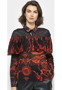 Camisa Em Tule Estampado Lança Perfume Com Babado Feminina - Feminino-Vermelho