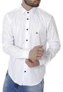 Camisa Skinny Manga Longa Masculina Branco