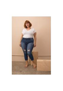 Calça Jeans Capri Destroyed Plus Size Azul-54