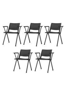 Kit 5 Cadeiras Up Com Bracos Base Fixa Preta - 57835 Preto