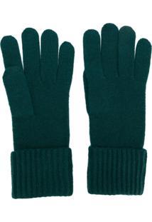 N.Peal Par De Luvas Em Cashmere Canelado - Verde