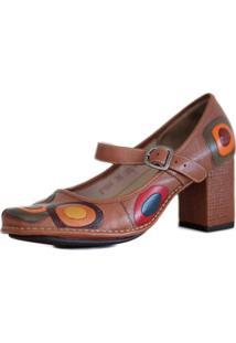 4dfeabc0a ... Sapato J. Gean Em Couro Vintage Retrô Salto Grosso Médio