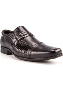 Sapato Masculino Valença Com Recortes Couro Preto