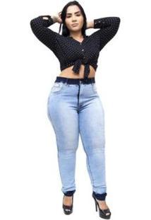 Calça Jeans Latitude Plus Size Emanuelly Feminina - Feminino-Azul
