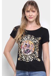 Camiseta T-Shirt Carmim Estampa Anjos Manga Curta Feminina - Feminino-Preto