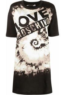 Love Moschino Vestido Tie Dye Com Logo - Preto