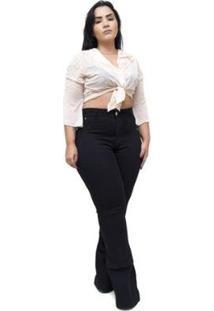 Calça Plus Size Cheris Jeans Maiani Feminina - Feminino-Preto