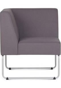 Poltrona Modular Pix Com Braco Individual Assento Crepe Cinza Escuro Base Aco Branco - 55341 Sun House