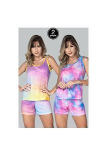 Kit 2 Pijama Feminino Serra E Mar Modas Baby Doll Tie Dye Multicolorido